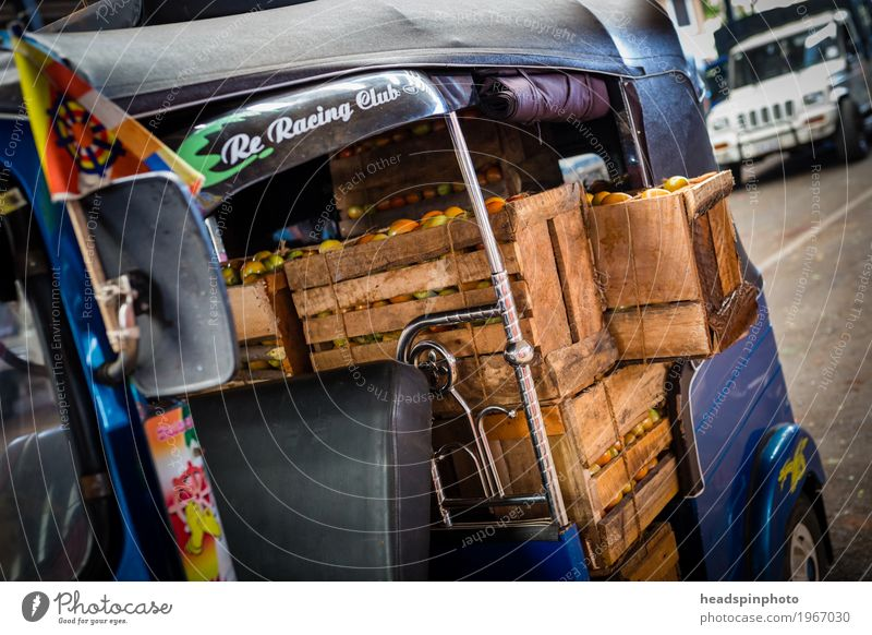 Wooden boxes with tomatoes in a TukTuk Vegetable Agricultural crop Kandy Sri Lanka Marketplace Logistics Tuc-Tuc Eating Driving Shopping Green Red Business