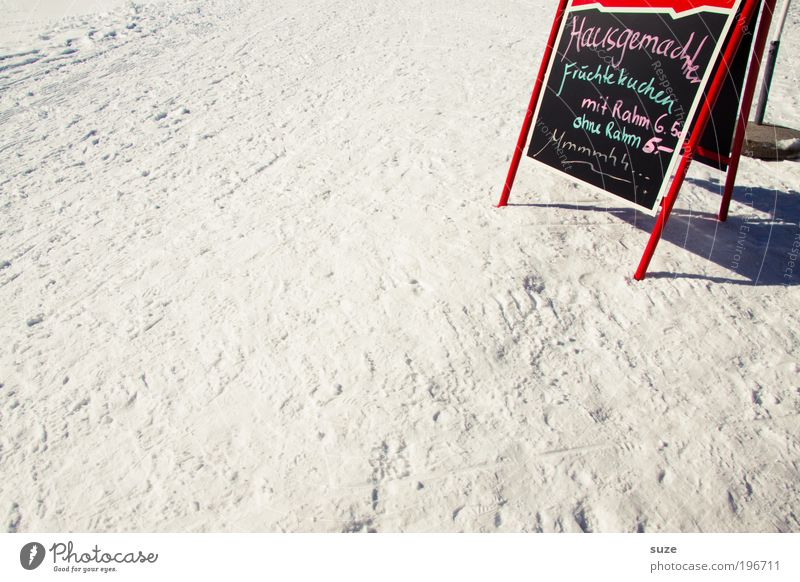 Winter Vacation & Travel Nutrition Snow Signs and labeling Trip Tourism Break Stand Characters Café Delicious Appetite Beautiful weather Meal