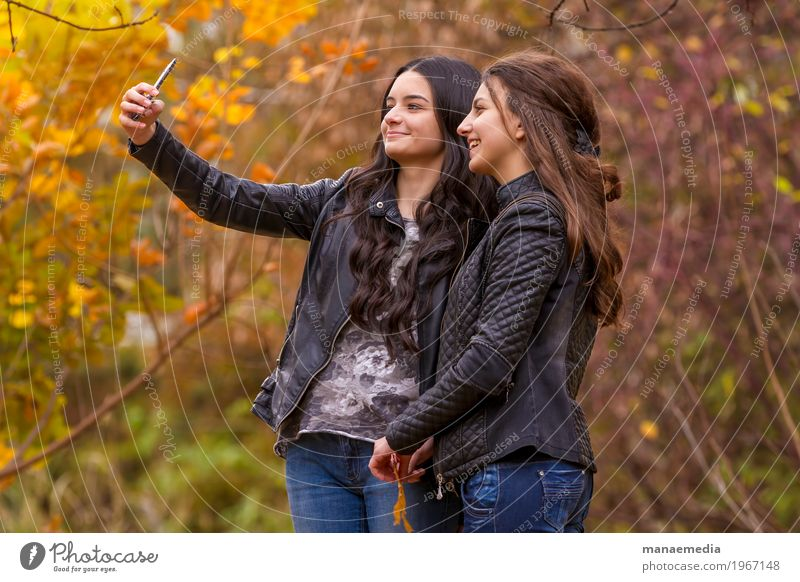Girlfriends taking selfie picture with smartphone Human being Woman Nature Vacation & Travel Youth (Young adults) Sun Tree Relaxation Leaf Joy Girl Adults Life Lifestyle To talk Autumn