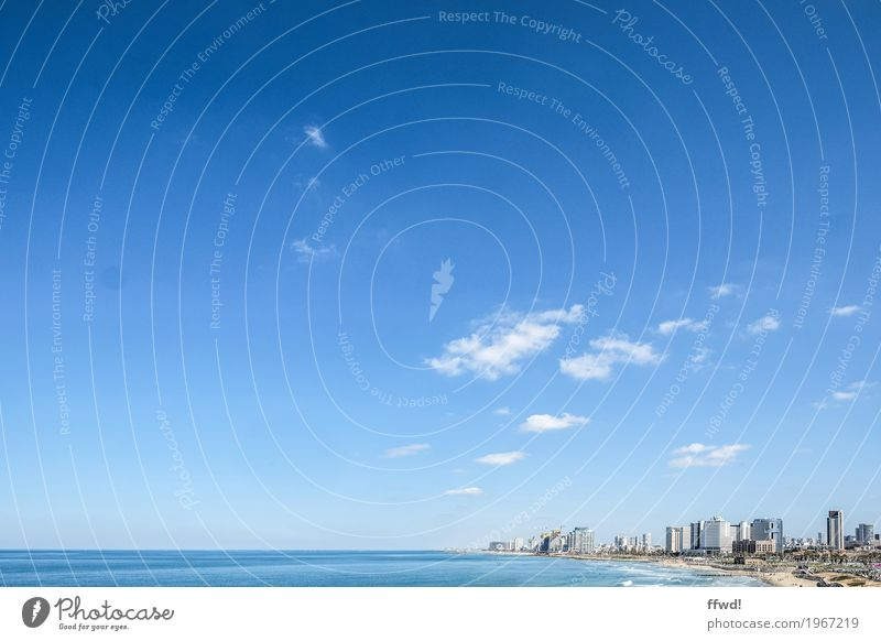 Sky Vacation & Travel Blue Town Ocean Clouds Far-off places Beach Horizon High-rise Beautiful weather Skyline City trip Port City Israel
