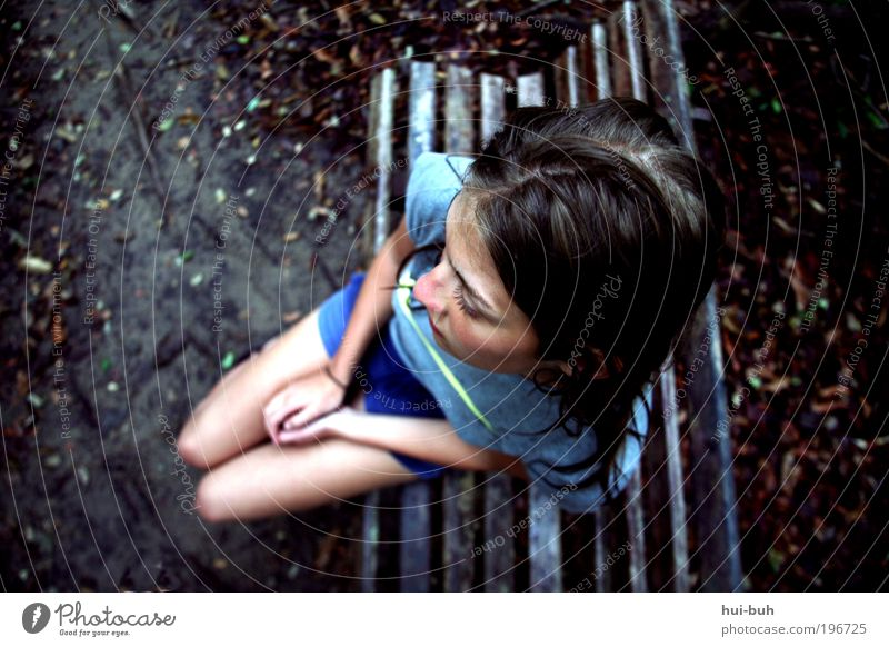 Youth (Young adults) Blue Loneliness Dark Life Emotions Sadness Moody Young woman Hiking Gloomy Hope Grief Longing Bird's-eye view Pain