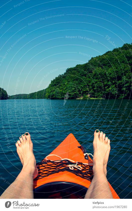 Woman Summer Water Sun Relaxation Calm Forest Adults Sports Lake Feet Watercraft Driving Canoe Rowboat Aquatics
