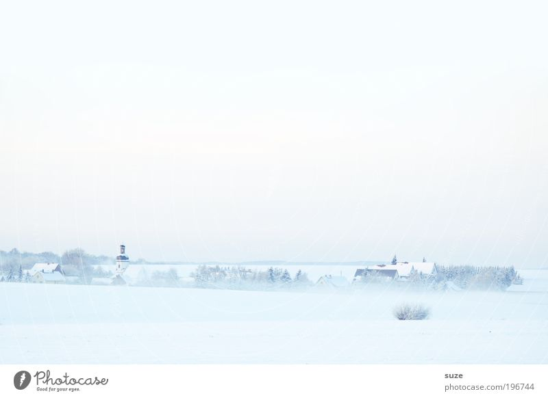 Church in the village Environment Nature Landscape Elements Sky Cloudless sky Horizon Winter Climate Beautiful weather Fog Ice Frost Snow Village