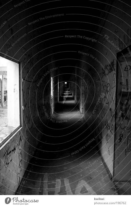 Loneliness Far-off places Dark Wall (building) Window Wall (barrier) Graffiti Architecture Grief Factory Ruin Hallway Black & white photo Industrial plant