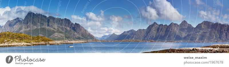 Norway landscape sunny summer panorama Sky Nature Vacation & Travel Blue Summer Beautiful Landscape Ocean Clouds Far-off places Beach Mountain Coast Tourism