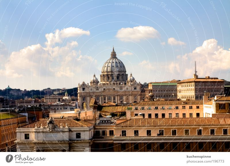 St. Peter's Basilica Skyline Rome Vacation & Travel Tourism Trip Sightseeing City trip Summer Sun Art Beautiful weather Italy Europe Town Church Dome Building