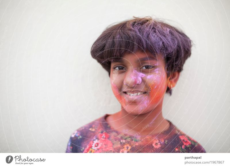 Portrait of girl with colorful face. Red Face Yellow Lifestyle Pink Fresh Happiness