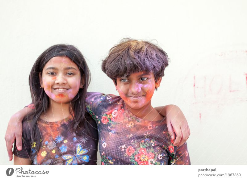 Portrait of teenagers with color powder smudged Human being Child Beautiful Joy Face Lifestyle Happy Infancy Happiness Friendliness 8 - 13 years