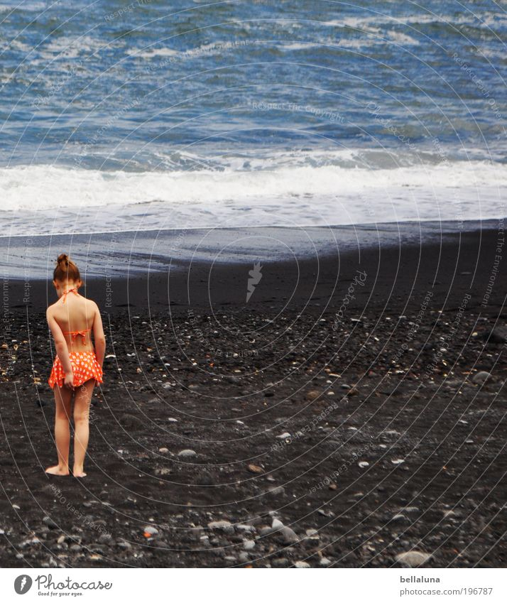 Human being Child Girl Ocean Beach Life Dream Infancy Waves Going Stand Spain Atlantic Ocean 3 - 8 years High tide