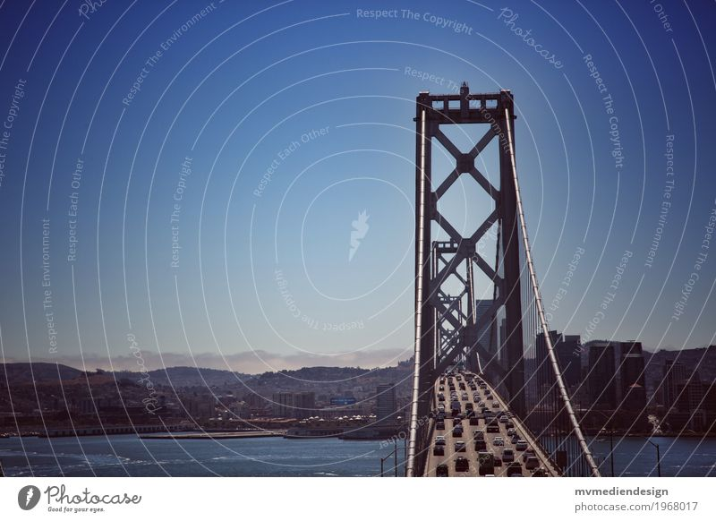 Bay Bridge San Francisco Rush hour Motoring Street Car Driving Oakland Bay Bridge USA California Traffic infrastructure Blue sky Mountain Colour photo Deserted