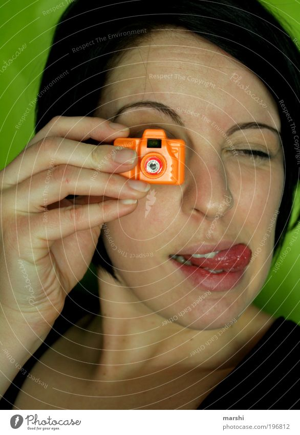 Woman Human being Youth (Young adults) Green Joy Face Feminine Emotions Style Head Moody Orange Photography Funny Adults Small