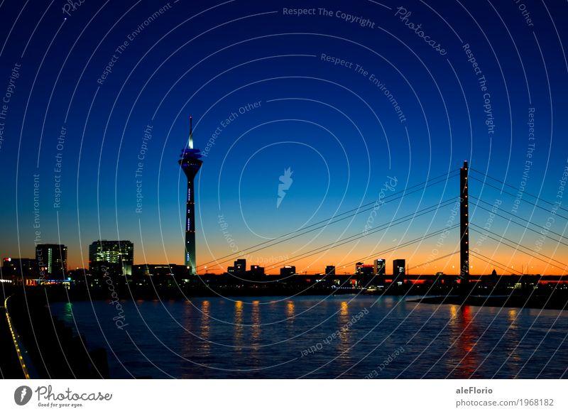 Düsseldorf skyline Sightseeing Water Sky Cloudless sky Night sky River bank Rhine Duesseldorf Germany Europe Town Skyline Bridge Tower Tourist Attraction