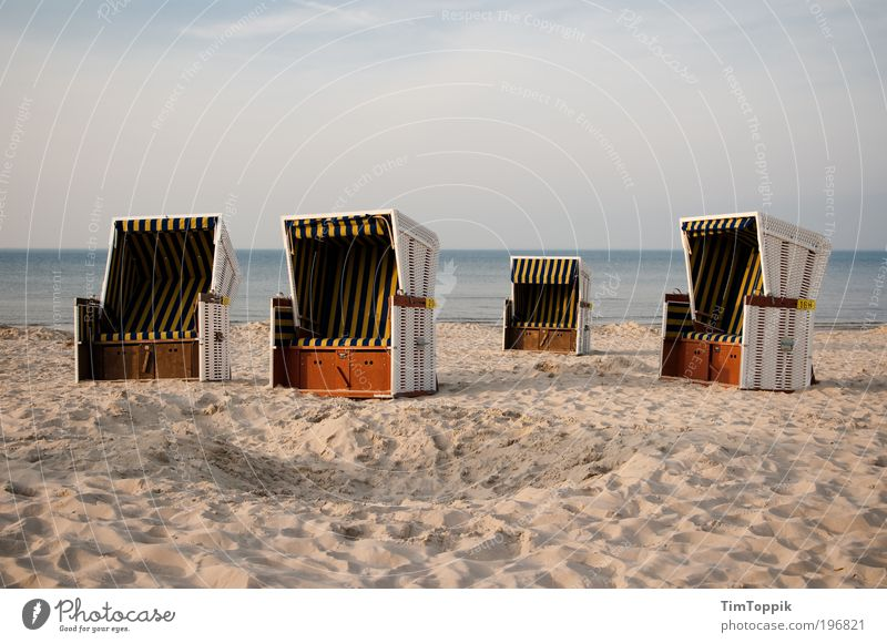 Ocean Summer Beach Vacation & Travel Loneliness Relaxation Lake Sand Coast Empty Island Chair Baltic Sea North Sea Beach chair Summer vacation