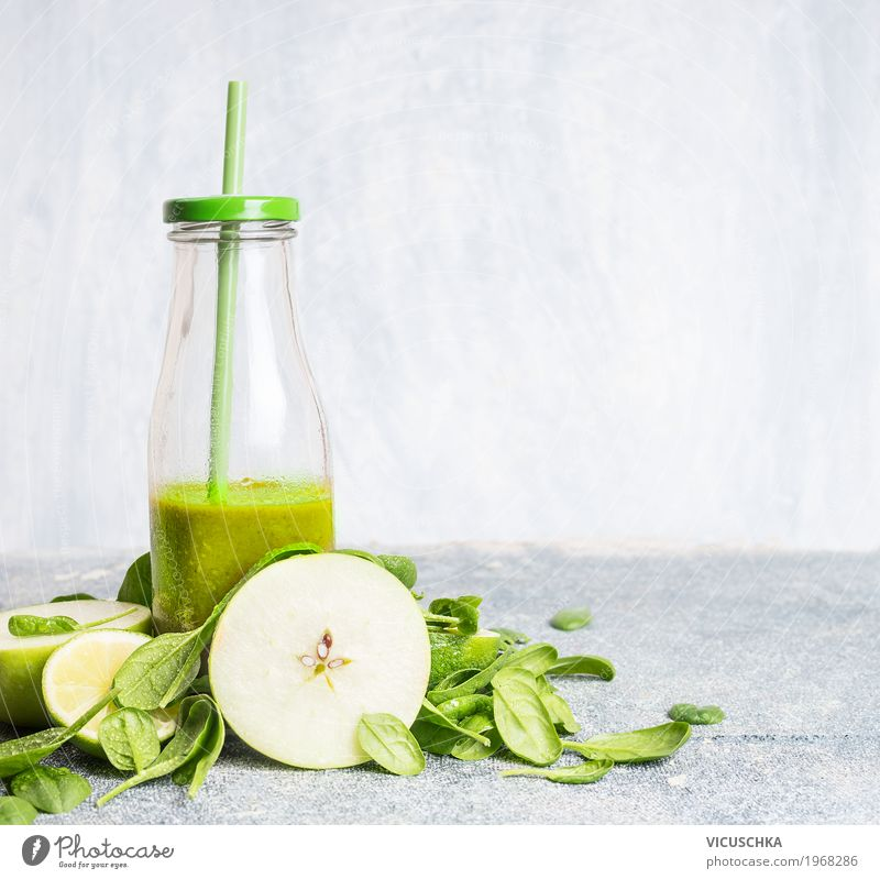 Green Smoothie in bottle with apple and spinach Food Vegetable Fruit Nutrition Organic produce Vegetarian diet Diet Beverage Juice Bottle Style Design Healthy