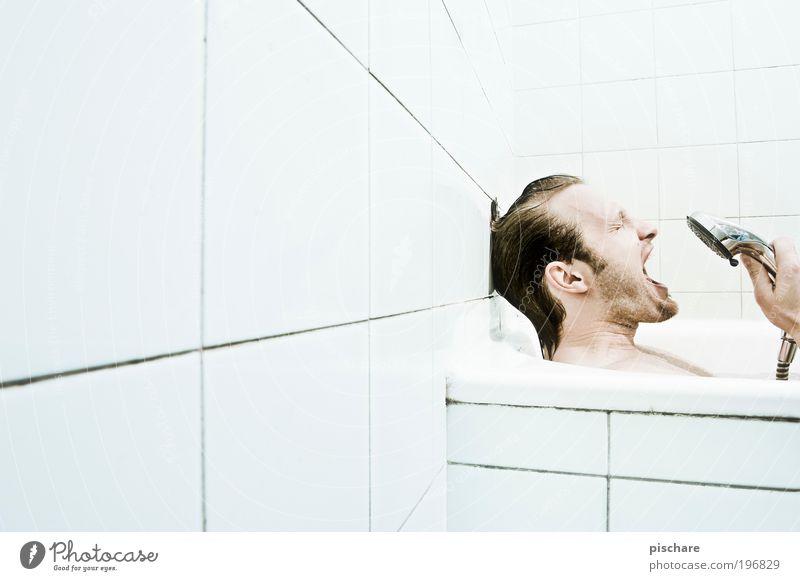 Man Joy Adults Head Funny Music Blonde Masculine Crazy Bathtub Bathroom Friendliness Tile Facial hair Scream Personal hygiene