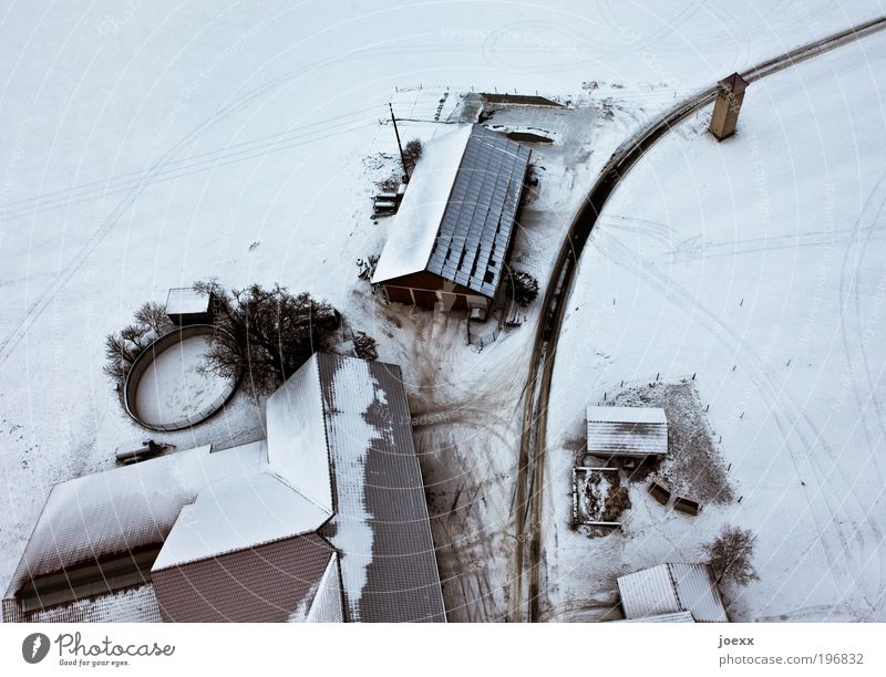 The Settlers Winter Snow House (Residential Structure) Roof Street Cold Above Under Black White Farm Snowscape Bird's-eye view Colour photo Subdued colour