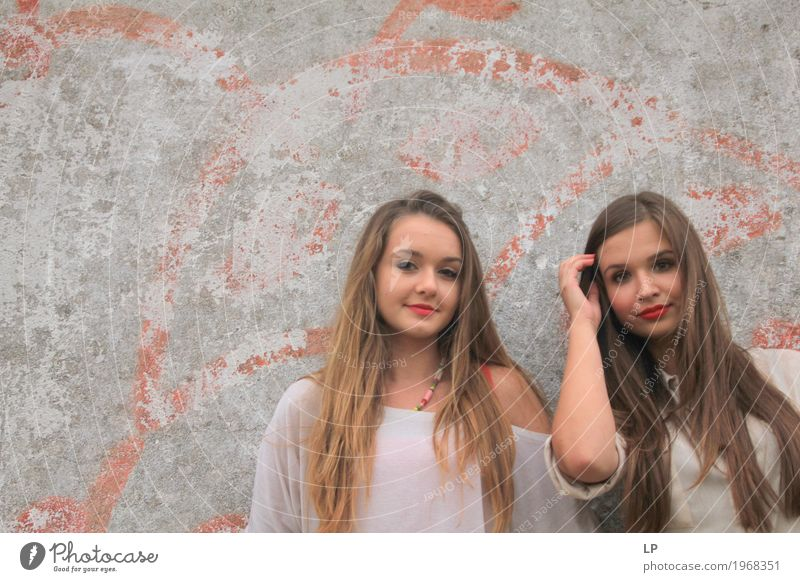 two girls Lifestyle Elegant Style Joy Beautiful Hair and hairstyles Cosmetics Make-up Wellness Harmonious Well-being Contentment Senses Living or residing