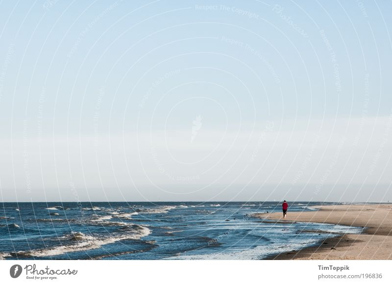 Ocean Red Beach Loneliness Far-off places Relaxation Sand Waves Coast Hiking Horizon Island To go for a walk Infinity Jacket Baltic Sea
