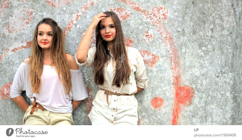 2 beautiful girls standing against a wall Human being Youth (Young adults) Young woman Beautiful Life Lifestyle Emotions Feminine Style Family & Relations