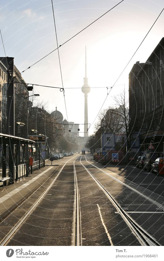 Berlin Town Capital city Downtown Old town Skyline Deserted Tourist Attraction Landmark Berlin TV Tower Traffic infrastructure Passenger traffic Street