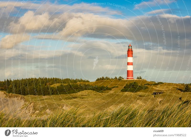 Lighthouse in Wittdün on the island Amrum Relaxation Vacation & Travel Tourism Island Nature Landscape Clouds Autumn Coast North Sea Architecture