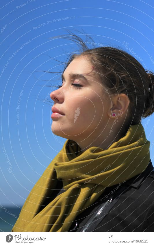 profile of a young woman with closed eyes Human being Woman Youth (Young adults) Young woman Beautiful Relaxation Calm Adults Life Lifestyle Feminine Style