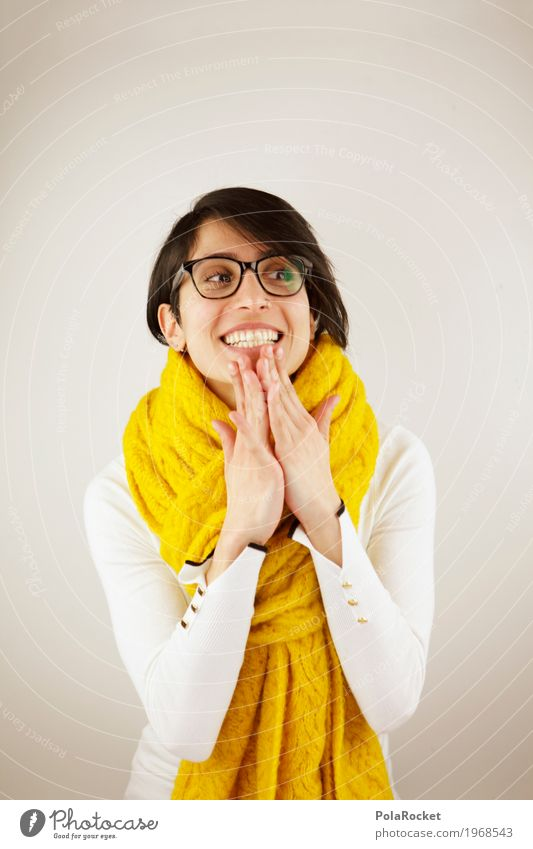 Human being Woman Hand Joy Winter Yellow Laughter Fashion Esthetic Happiness Eyeglasses Friendliness Anticipation Scarf Dazzling white teeth