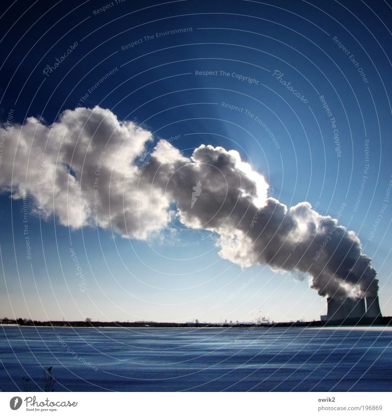 smoke sign Economy Industry Company Technology Energy industry Coal power station Environment Nature Landscape Cloudless sky Horizon Winter Climate