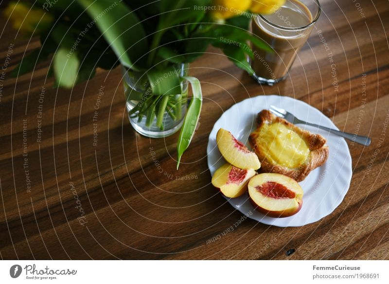 Coffee time's 3:30! To have a coffee To enjoy Nectarine Glass Bouquet Vase Wooden table Tabletop Living or residing Plate Fork Pudding Danish pastry Baked goods