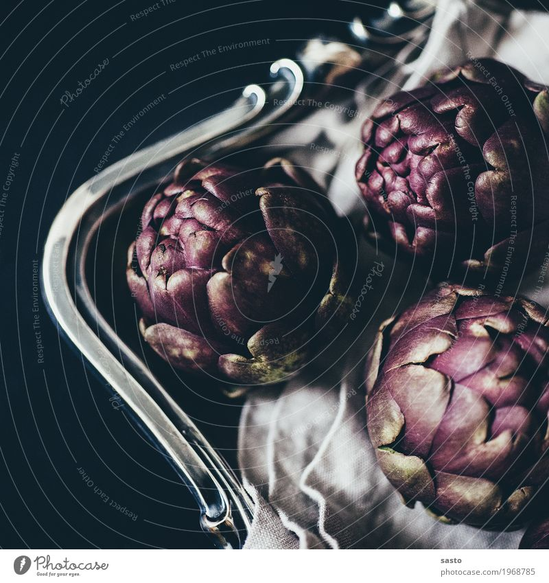 Artichokes with bow Food Vegetable Nutrition Organic produce Vegetarian diet Slow food Esthetic Elegant Healthy Eating salubriously Raw Fresh Tray Rag