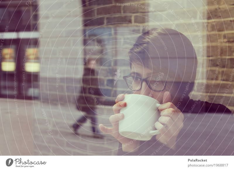 #A1# Woman at window with view to the future Feminine Esthetic Café Coffee To have a coffee Coffee cup Coffee break Looking Shows Eyeglasses Reflection Slice