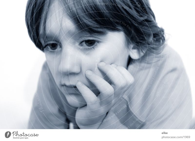 Watch something! Child Girl Human being Think Meditative Black & white photo Hand on chin Partially visible Face of a child 8 - 13 years Section of image