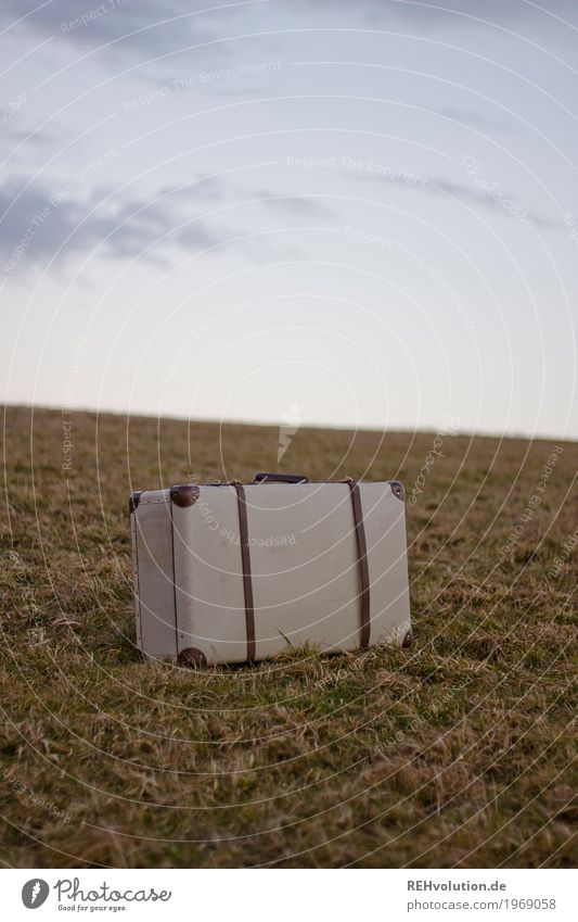suitcases Vacation & Travel Trip Environment Nature Landscape Sky Clouds Meadow Stand Old Retro Loneliness Adventure Suitcase Luggage In transit Colour photo