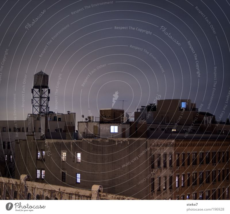 Old City House (Residential Structure) Wall (building) Wall (barrier) Facade Gloomy Roof Night sky Exceptional Americas Downtown New York City Run-down Roof terrace