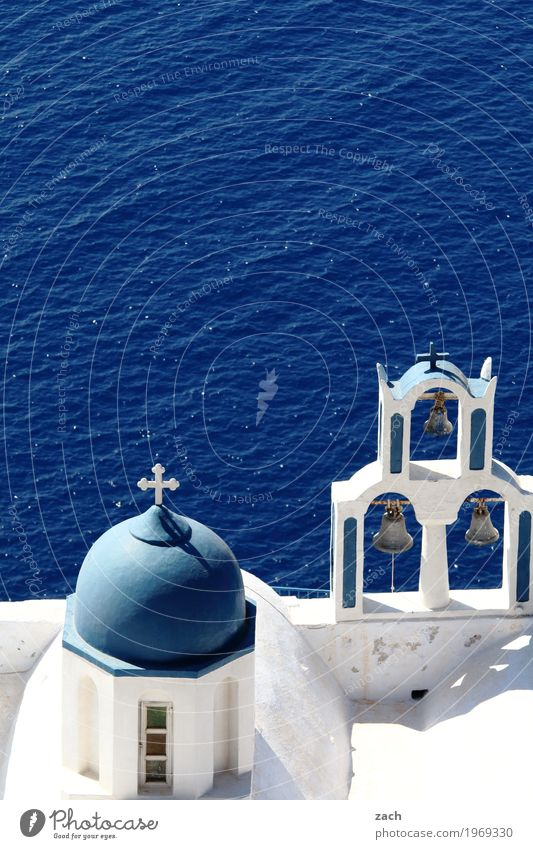 please ring the bell... Vacation & Travel Sky Clouds Beautiful weather Rock Volcano Ocean Mediterranean sea Aegean Sea Island Santorini Greece Cyclades Village