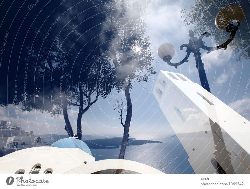 Reality is only a dream Nature Sky Clouds Beautiful weather Coast Ocean Mediterranean sea Aegean Sea Island Cyclades Santorini Caldera Oia Thira Greece Village
