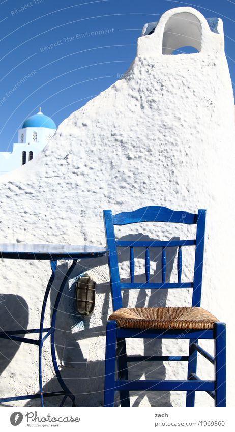 An ouzo, please. Vacation & Travel Chair Table Gastronomy Restaurant Taverna Ocean Mediterranean sea Aegean Sea Island Cyclades Santorini pyrgos Greece Village