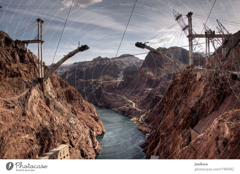 Sky Water Vacation & Travel Mountain Landscape Power Concrete Rock Large Tourism Renewable energy Bridge Energy industry Future Industry Construction site