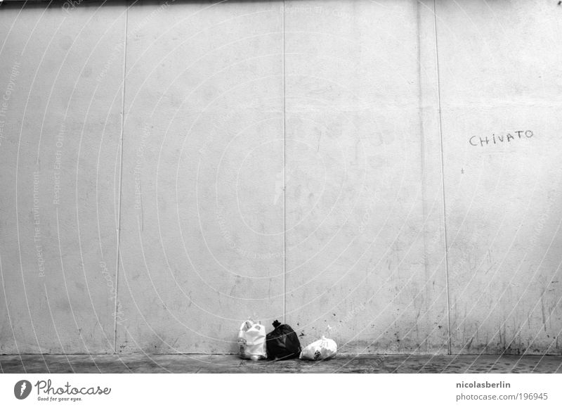 City Loneliness Wall (building) Graffiti Wall (barrier) Break Decoration Black & white photo Trash Trashy Environmental pollution Sack Work of art Art Madrid