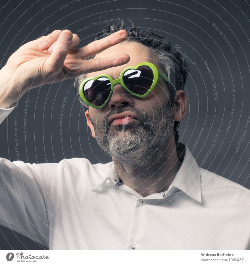 portrait Style Summer Human being Masculine Man Adults 1 45 - 60 years Dance Cool (slang) Retro Crazy caucasian communication glasses Guy handsome happy heart