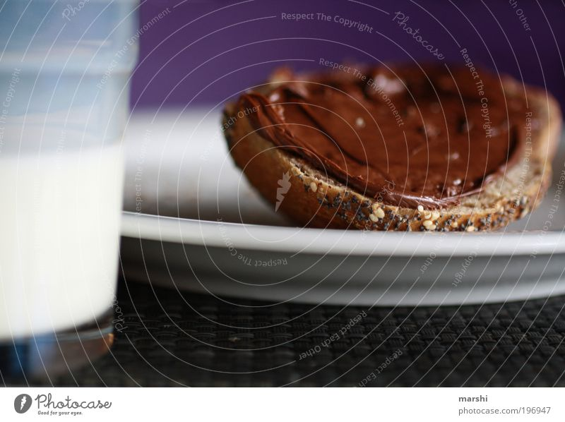 love it! Food Bread Nutrition Breakfast Beverage Drinking Milk Crockery Plate Glass Delicious Tasty Sense of taste Appetite To enjoy Emotions Like Snack Roll