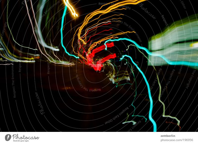 Black Arrangement Speed Tunnel Chaos Floodlight Rotation Car headlights Swirl Tracer path Shift work Night Work and employment Multicoloured