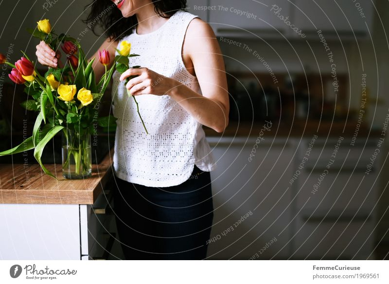 Human being Woman Youth (Young adults) Young woman Flower Joy 18 - 30 years Adults Yellow Spring Feminine Pink Living or residing Decoration Birthday Smiling