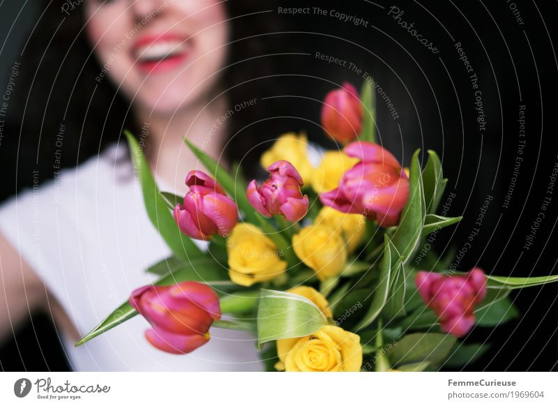 Spring! :) Feminine Young woman Youth (Young adults) Woman Adults 1 Human being 18 - 30 years Happy women's day Birthday Valentine's Day Bouquet Tulip Rose