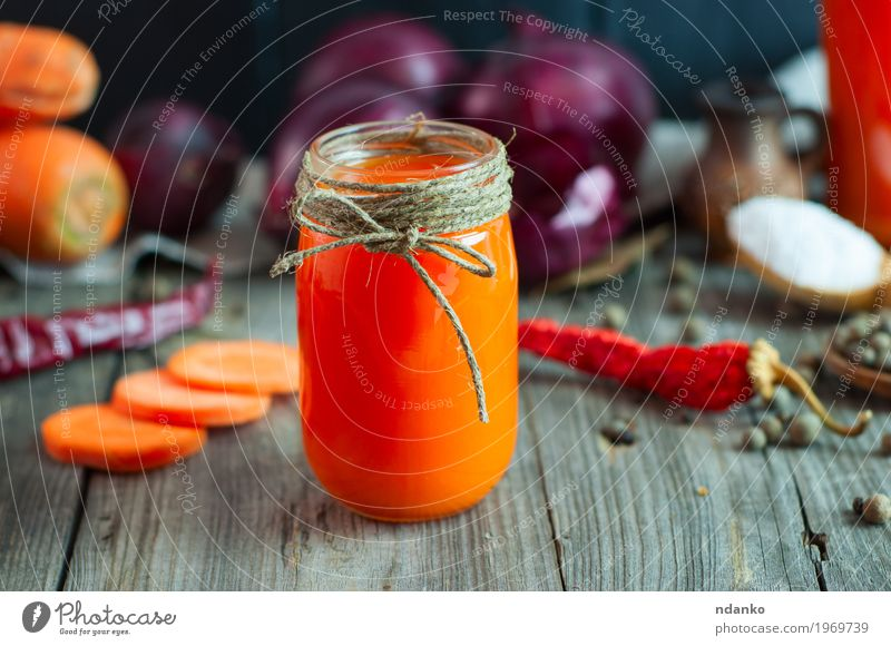 Small glass jar with fresh juice Old Healthy Natural Health care Gray Orange Fresh Glass Table Herbs and spices Beverage Drinking Delicious Vegetable