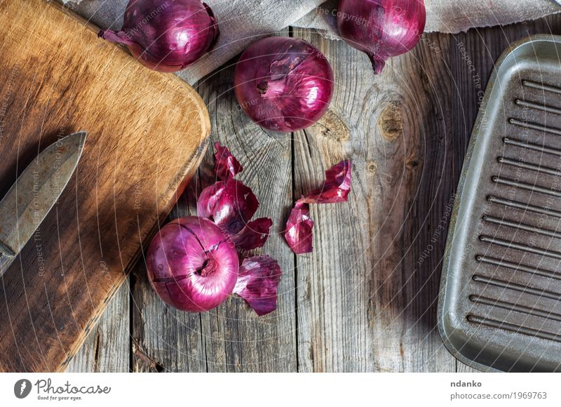 Red onion vegetable on the gray wooden surface Food Vegetable Fruit Nutrition Eating Vegetarian diet Pan Kitchen Group Nature Plant Wood Old Dark Fresh Natural