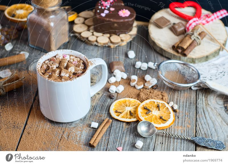 cup of hot chocolate with marshmallows Fruit Dessert Candy Herbs and spices Beverage Hot drink Hot Chocolate Cup Mug Spoon Winter Table Sieve Wood Heart Old