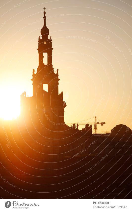 #A# Court Church Dresden Art Work of art Painting and drawing (object) Esthetic Dresden Hofkirche Sunset Romance Tower Silhouette Sunbeam Saxony Idyll