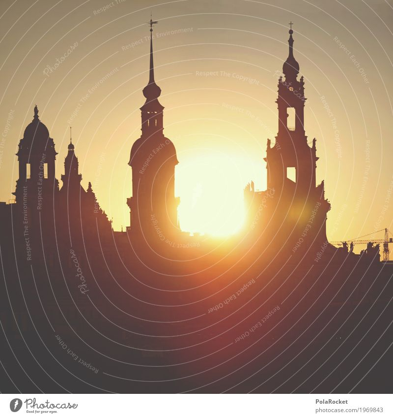#A# Friday in Dresden Summer Esthetic Saxony Old town Dresden Hofkirche Silhouette Sun Sunset Tower Sky Idyll Peaceful Brühlsche Terrasse Tourist Attraction