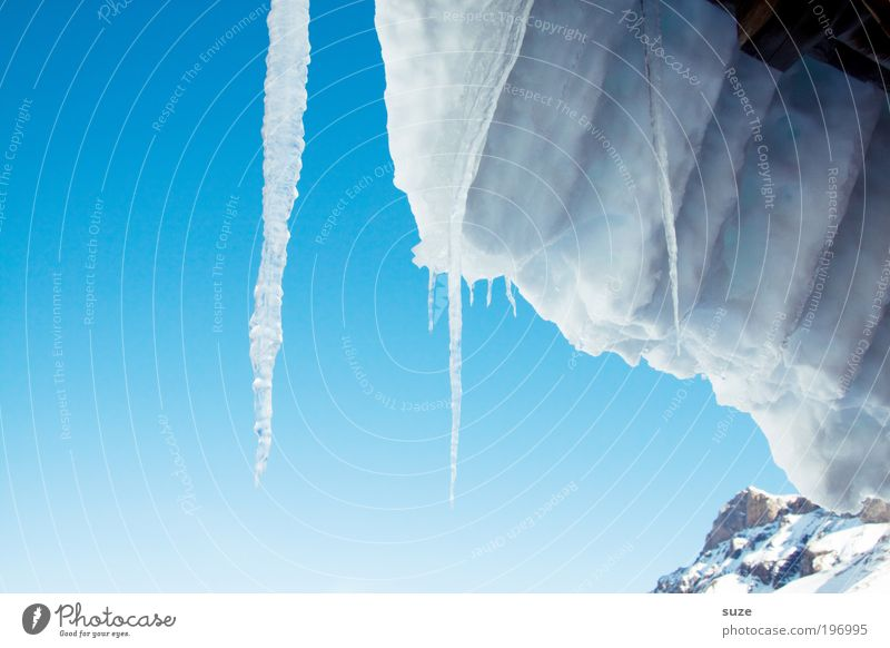 icicles Environment Elements Water Sky Cloudless sky Winter Climate Beautiful weather Ice Frost Snow Alps Mountain Peak Roof Authentic Sharp-edged Simple Cold